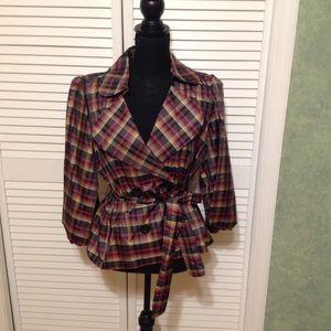 Plaid jacket - Double breasted short jacket